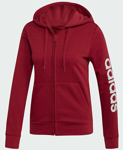 Détails sur Sweat Shirt FilleFemme Adidas Essentials Linear à Capuche Full Zip EI0661 Red