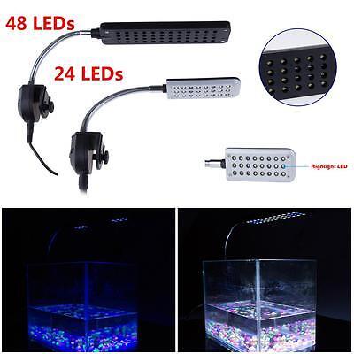 24/48LED Aquarium Fish Tank Flexible Arm Clip White Blue Light Home Use Wonder B