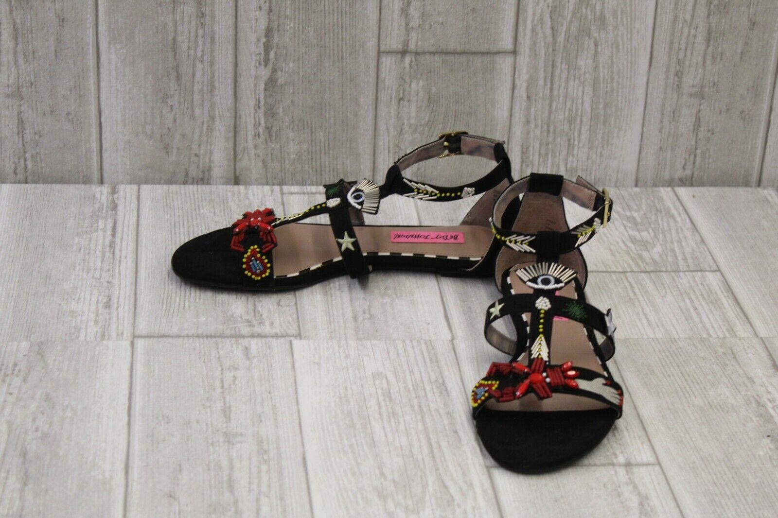 Betsey Johnson Jossy Embellished Flat Sandals, Women's Size 6B, Black