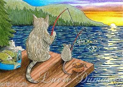ACEO art print Cat 395 fishing from original painting by L.Dumas