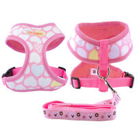 Cute Soft Small Pet Dog Puppy Harness Vest Pink Safety With Heart Print S M L XL