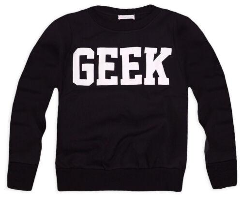 Girls Geek Sweatshirt New Kids Black Grey Pink Top Tracksuit Jumper Age 3-13 Yrs