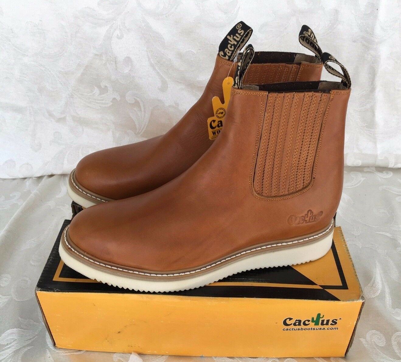 Cactus Work Stivali 7611 Honey Pull Pull Pull Up / Slip On Comfort Fit Real Pelle a3a7ff