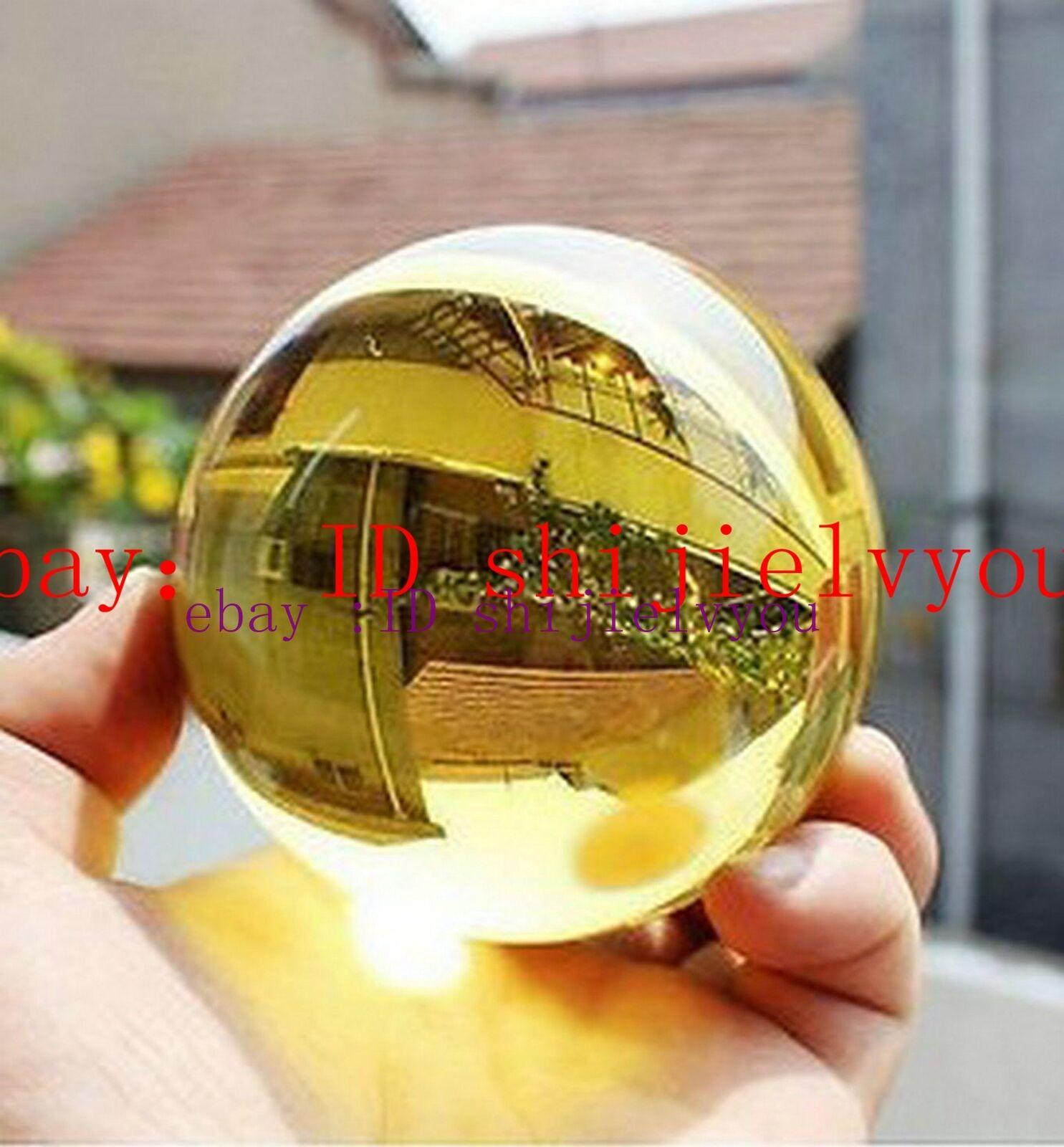 Amber Asian Rare Natural Quartz Magic Crystal Healing Ball Sphere 40mm /& Stand