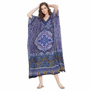Details about Women Floral Kaftan Kimono Dress Plus Size Blue Caftan  Polyester Summer Dress
