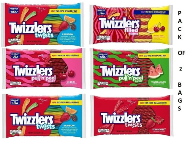 TWIZZLERS 10oz-14oz Bags American Flavored Candy PACK OF 2 BAGS! EASY  SHIPPING