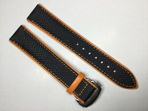 NEW-20MM-BLACK-ORANGE-CANVAS-STRAP-BAND-BRACELET-FOR-OMEGA-SPEEDMASTER-SEAMASTER