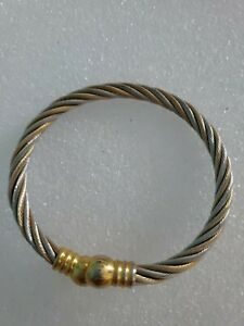 Gold-And-Silver-Tone-Twisted-Bangle-Bracelet-Women-039-s-Fashion-Jewelry