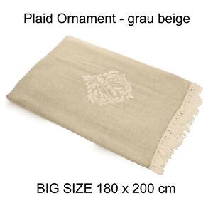 Plaid-Tagesdecke-ORNAMENT-beigegrau-Couchdecke-Sofa-Decke-180x200-cm-100-Cotton