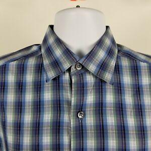 Ermenegildo-Zegna-Mens-Blue-Check-Plaid-L-S-Dress-Button-Shirt-Sz-Medium-M-ITALY