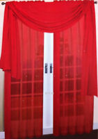 3pcs 1 scarf w/ 2 RED Voile Window Panel  Brand New curtains