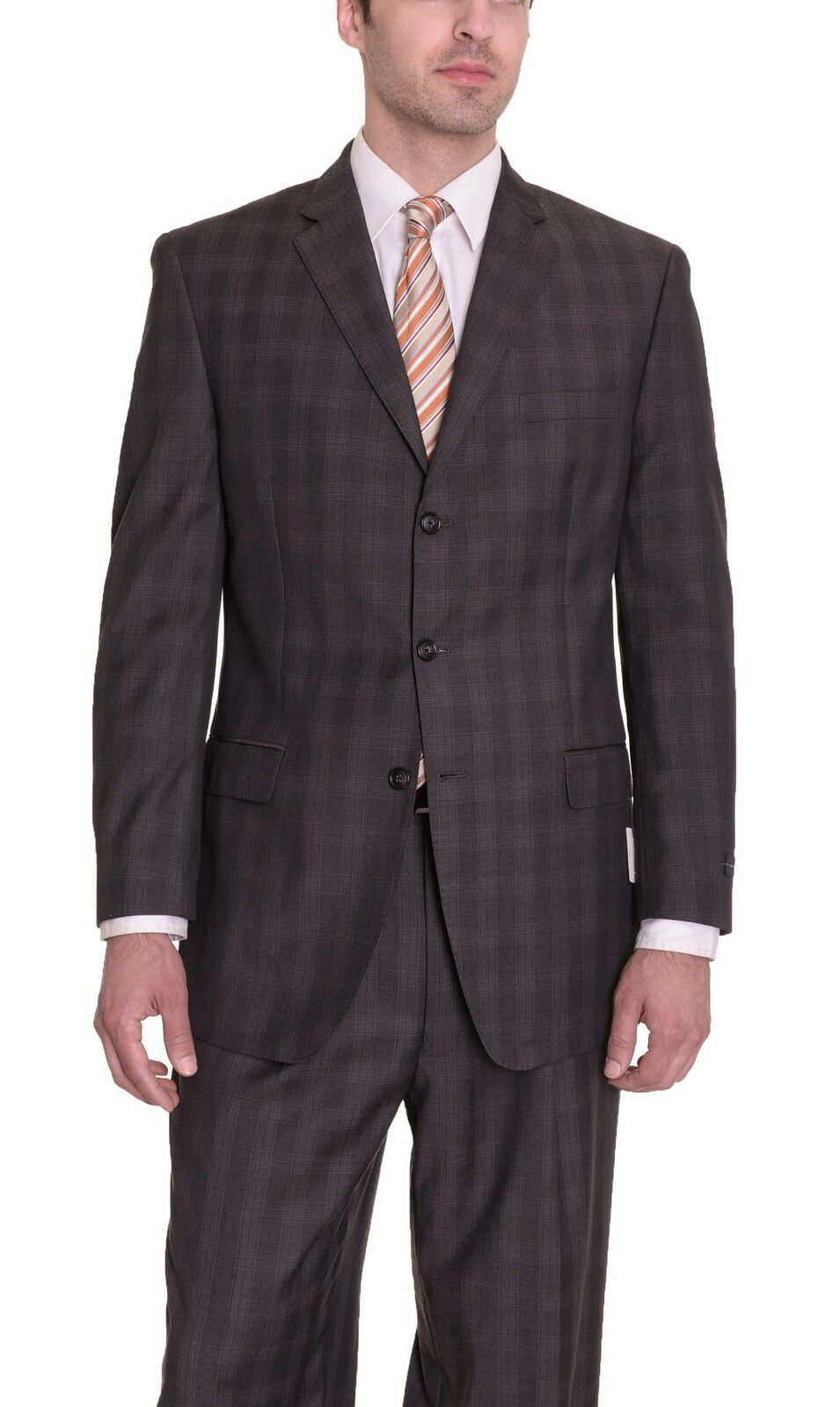 b7b4944653 John Regular Fit Brown Plaid Three Button Suit Sean psqmbt9130-Suits    Tailoring
