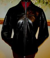 AVANTI BUTTERY SOFT BLACK LEATHER ZIP FRONT LINED JACKET SIZE S W FRONT POCKETS
