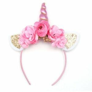 Details about Kids s Children s Pink Floral Unicorn Tiara Headband with  Gold Glittered Ears 135953ab817