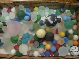 135-Vintage-Glass-Sea-Style-Beach-Marbles-Pcs-Frosted-Display-Arts-Crafts-Pretty