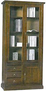 libreria-2-ante-vetro-e-3-cassetti-legno-massello-arte-povera-mobile-ufficio