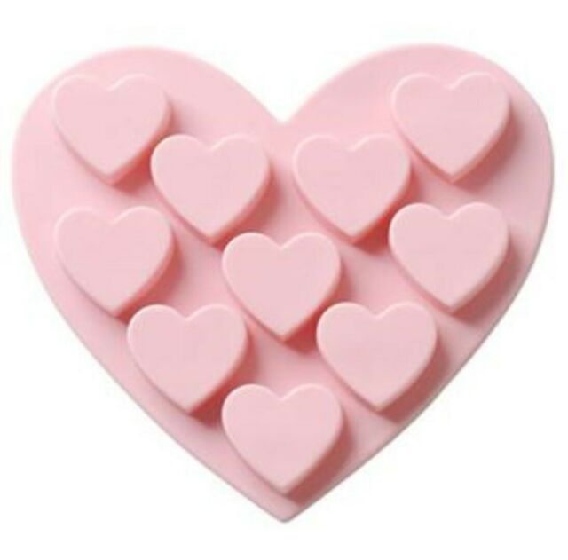 HEART 10 Cavity Silicone Mould Mold: Soap Candle Resin Chocolate Ice Fondant