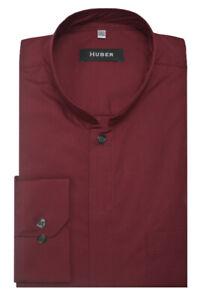 Huber-cuello-alto-camisa-rojo-burdeos-asia-mao-cuello-made-en-Europa-hu-0070-regular