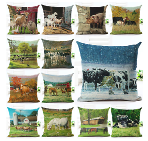 Deluxe-FARM-ANIMAL-Cushion-Covers-Retro-COW-HORSE-PIG-Painting-Art-45cm-Gift-UK