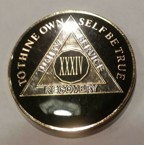 Gold 34 Year AA Coin Black Silver Traditional Size Recovery Chip XXXIV