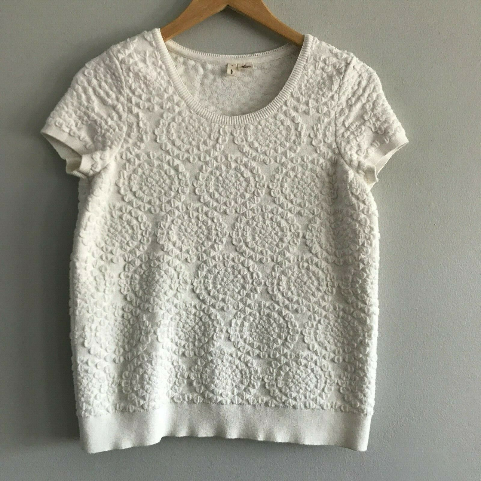 Anthropologie Moth Floral Textured Crew Top S