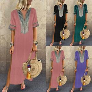 Women-Summer-Boho-Short-Sleeve-Casual-Kaftan-Maxi-Dress-Loose-Floral-Long-Dress