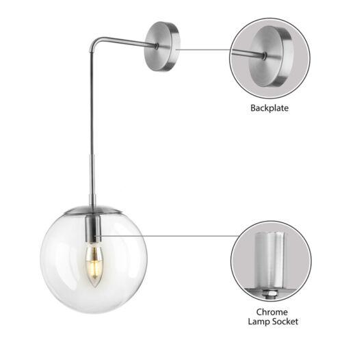Modern Globe Glass Wall Sconce Lamp Bedroom Bedside Hanging Wall Light Fixture