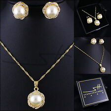 TOP Set: Kette+Ohrstecker *Perlenblume* Gelbgold pl., Swarovski Elements, +Etui