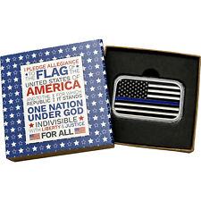 NEW! American Flag Blue Line 1 oz .999 Silver Bar Enameled(Pledge box)
