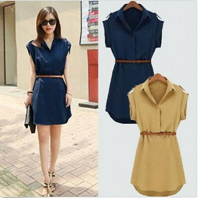 2015 Fashion Womens Cap Sleeve Stretch Chiffon Casual OL Shirt Mini Dress U Pick