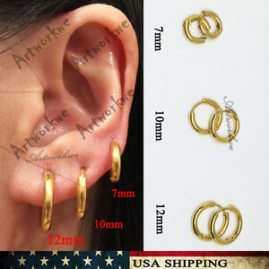 7 10 12mm Gold Mens Womens Stainless Steel Tube Hoop Ear