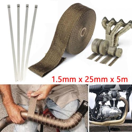 4 Colliers Collecteur Échappement 5M*25mm Bande Ruban Wrap Thermique Isolante