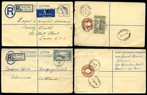 SIERRA-LEONE-REGISTERED-STATIONERY-KG6-QE2-CLINE-TOWN-FREETOWN-QUAY-1952-55