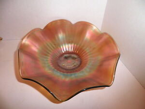 Northwood-Carnival-Glass-Stippled-Rays-Signed-8-034-Bowl-Green