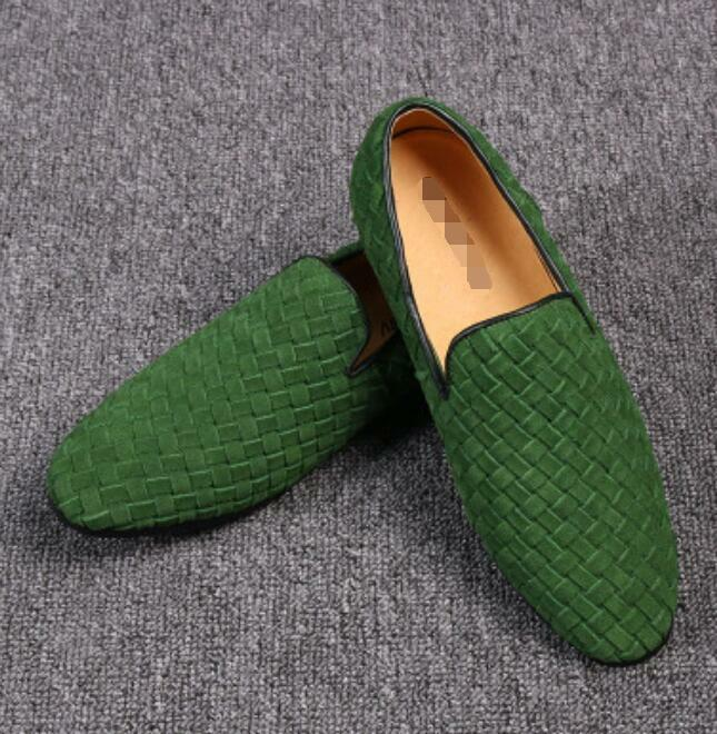 Scarpe casual da uomo  new uomo waven suede breathable slip on casual shoes slipper driving loafer shoes