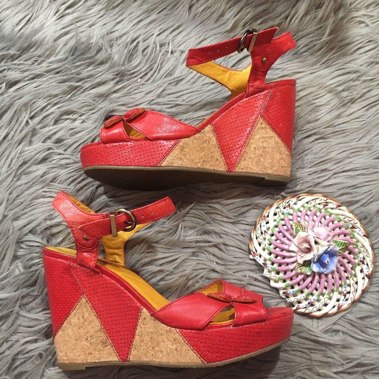 Miz Mooz Platform Wedge Sandals Red Leather Size 10 Lyla Cork Style