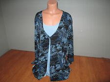 New Womens Plus Size 3X Studio 1940 Black Blue Print Layer Look Top Shirt