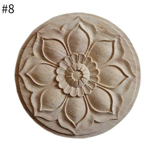 1PC Wood Carved Decal Unpainted Furniture Applique Cabinet Wall Ornament Durable