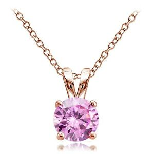 Rose-Gold-Tone-on-Silver-1-25ct-Pink-Cubic-Zirconia-7mm-Round-Solitaire-Necklace