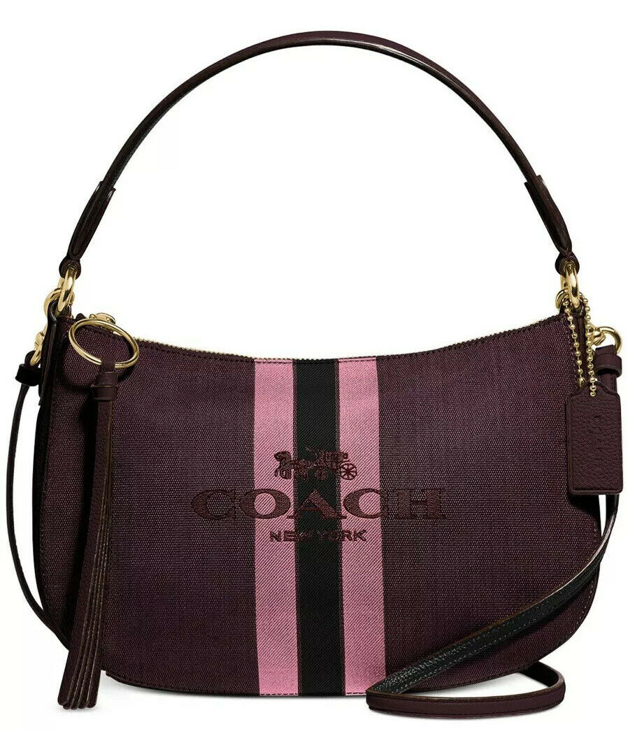 New coach Horse And Carriage Jacquard Sutton Crossbody 69647 stripe bag oxblood