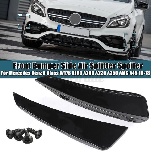 2Pcs Front Bumper Side Air Splitter Spoiler Black For Benz Mercedes W176 16-18