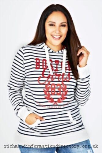 Hoodie Gr.48+50//52+54//56+58//60 Sweatshirt Damen Pullover Weiß Glitzer gestreift