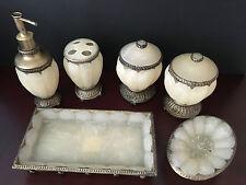6pcs Elegant Bathroom Accessory Set Gothic Italian looks like Antique Opal Glass