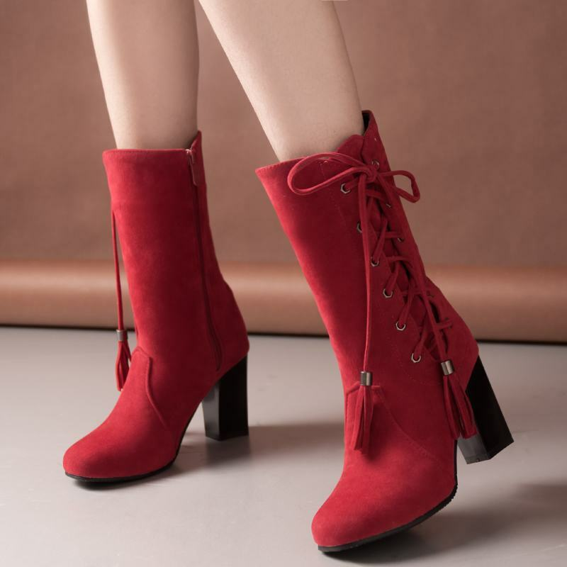 Womens Block Heels Side Zip Bowknots Lace Up Mid Calf Boots Casual Winter shoes