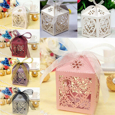 10/50/100 Pcs Love Heart Wedding Party Favor Ribbon Gift Box Candy Boxes #YMLA10