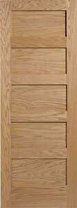 5 Panel Flat Mission Shaker Red Oak Stain Grade Solid Core Interior Wood Doors Ebay