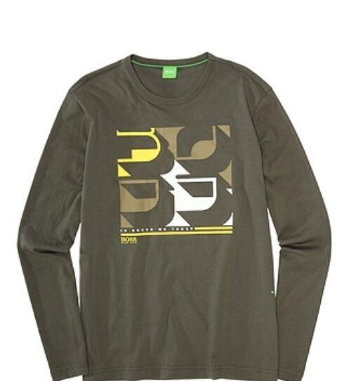 NUOVO Hugo Boss Uomo verde TOGN Manica Manica Manica Lunga Logo Camicia Casual Eleganti Tie Top T-shirt ab5961