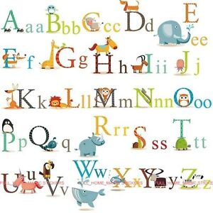 XL-Animal-Alphabet-Letters-A-Z-Wall-Stickers-Art-Decal-Educational-Kids-Learning