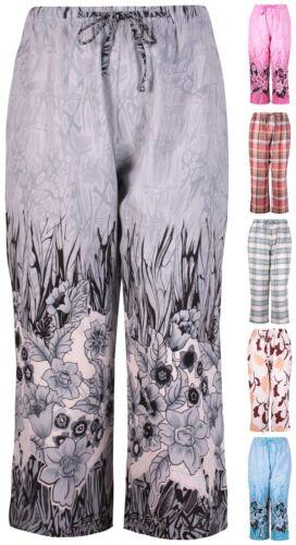 Womens Plus Size Floral Check Print Ladies Elasticated Tie Shorts Pants Trousers