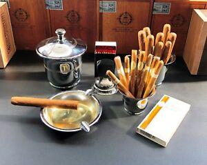 5teilig So Effektiv Wie Eine Fee Ca.1930/40er Jahre GüNstiger Verkauf Art Deco Raucherset / Garnitur Verchromt
